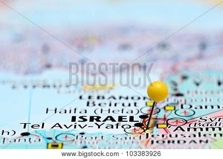 Tel Aviv pinned on a map of Asia
