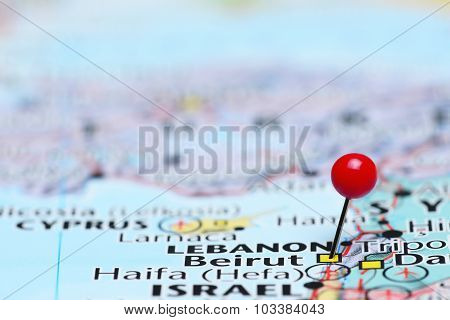 Beirut pinned on a map of Asia
