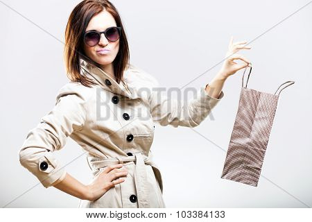 Disappointed Becouse Of Shooping, Woman Holding Bag