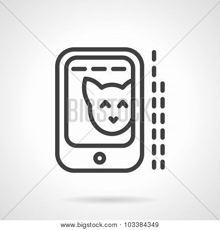 Cat photo in phone simple line vector icon