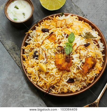 Fish Biryani with Raita Top View