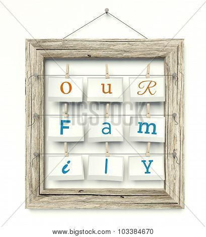 Old Wooden Photo Frame Our Family Inside