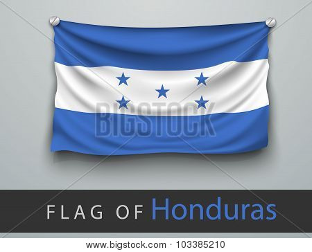 Flag Of Honduras Battered, Hung On The Wall