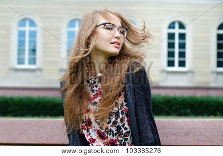 Portrait Of Carefree Girl With Long Hair