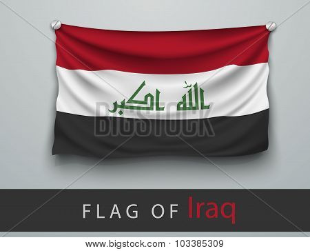 Flag Of Iraq Battered, Hung On The Wall