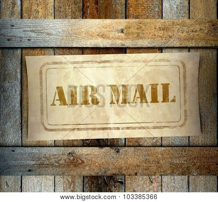 Stamp Air Mail Label Old Wooden Box