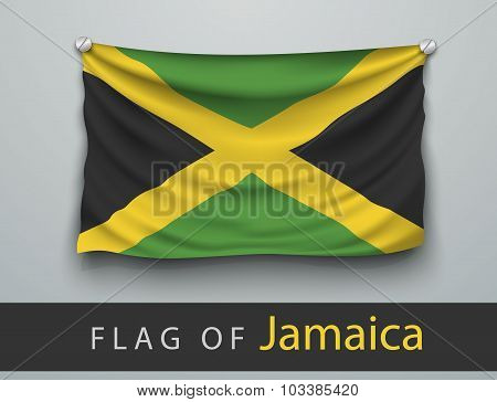 Flag Of Jamaica Battered, Hung On The Wall