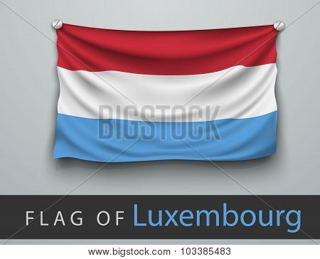 Flag Of Luxembourg Battered, Hung On The Wall