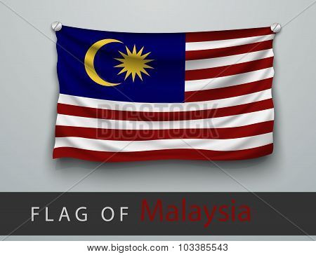 Flag Of Malaysia Battered, Hung On The Wall