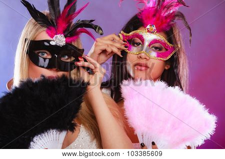 Two Women With Carnival Venetian Masks