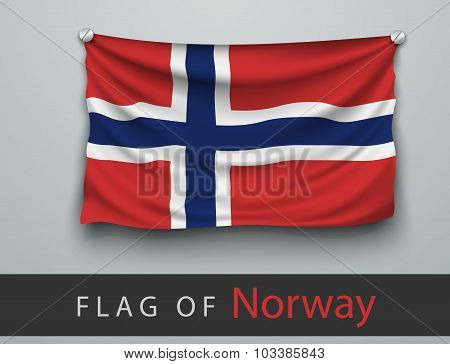 Flag Of Norway Battered, Hung On The Wall