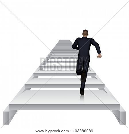 Concept or conceptual 3D business man running or climbing white stair isolated on white background