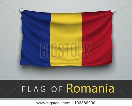 Flag Of Romania Battered, Hung On The Wall