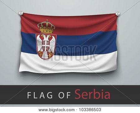 Flag Of Serbia Battered, Hung On The Wall