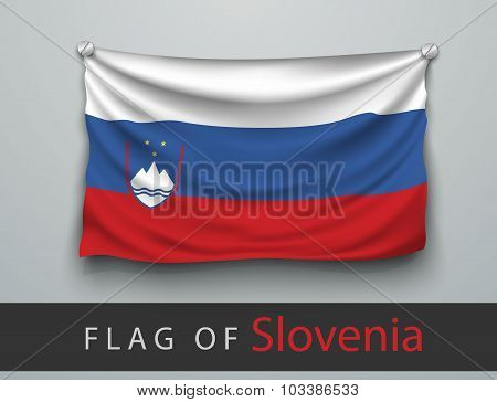 Flag Of Slovenia Battered, Hung On The Wall