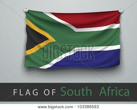 Flag Of South Africa Battered, Hung On The Wall