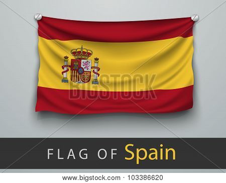 Flag Of Spain  Battered, Hung On The Wall