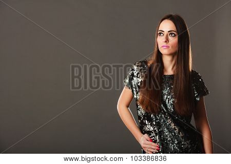 Fashion Brunette Woman In Elegant Dress