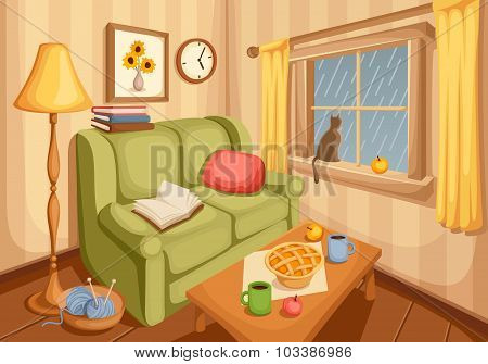 Living room interior. Vector illustration.