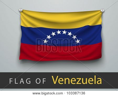 Flag Of Venezuela Battered, Hung On The Wall