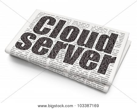 Cloud technology concept: Cloud Server on Newspaper background