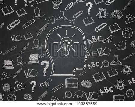 Learning concept: Head With Lightbulb on School Board background