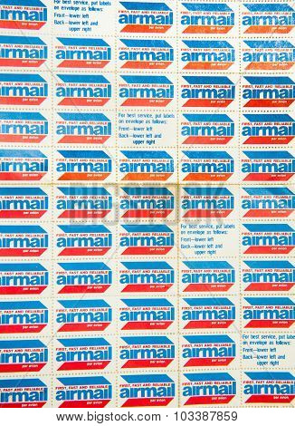 Page Of Old Air Mail Stamps