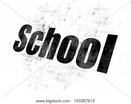Learning concept: School on Digital background