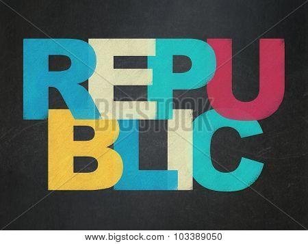 Politics concept: Republic on School Board background