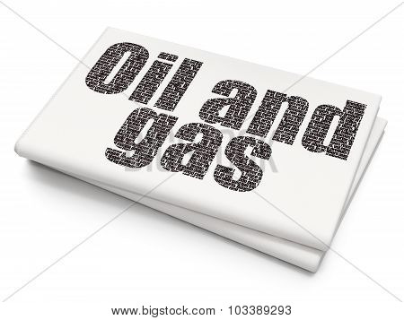 Industry concept: Oil and Gas on Blank Newspaper background