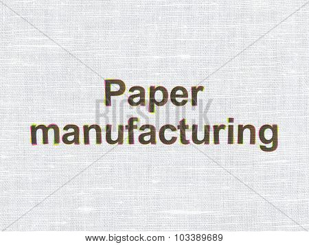 Industry concept: Paper Manufacturing on fabric texture background