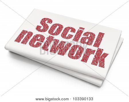 Social media concept: Social Network on Blank Newspaper background
