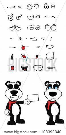 card panda bear cartoon emotions set