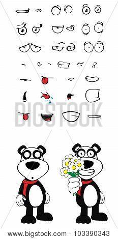 flowers panda bear cartoon emotions set
