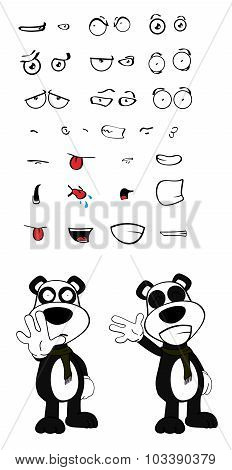 teddy panda bear kid emotions set