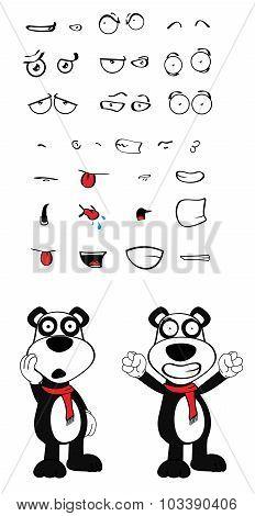 happy teddy panda bear cartoon emotions set