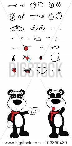teddy panda bear cartoon emotions set