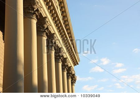 Facade Of A Building With Columns