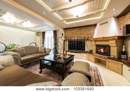 Apartment Interior With Fireplace