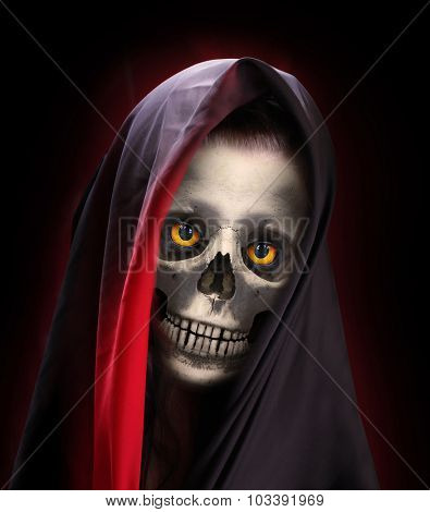 Portrait of death. Skeleton with smiling skull  dressed in veil or burka.