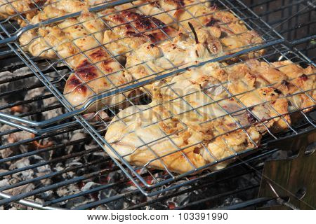 Preparation of kebabs on grill outdoor