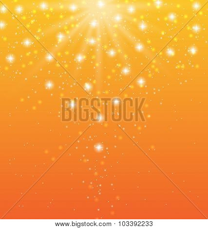 Abstract orange background with sun rays and shiny stars
