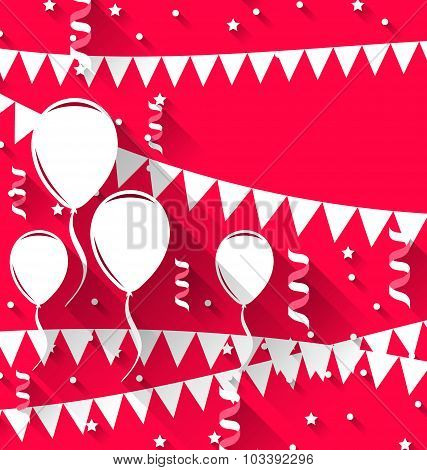 Happy birthday background with balloons and hanging pennants, tr