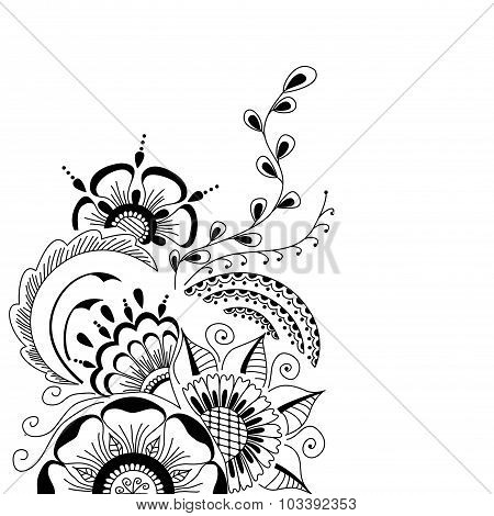Hand-drawn cute abstract floral elements  in mehndi style.
