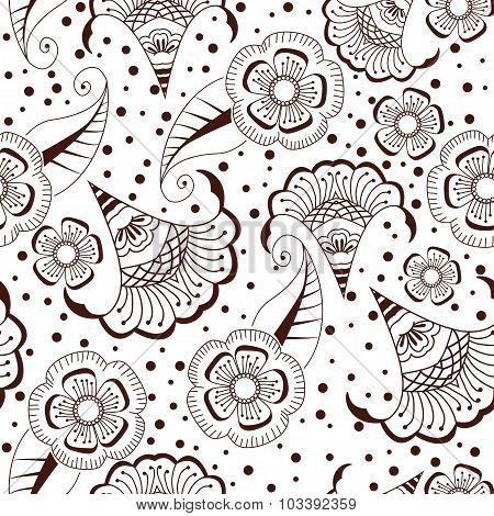Abstract seamless background henna style. Abstract floral seamless pattern.