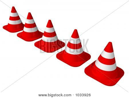Traffic Cones Lined Up
