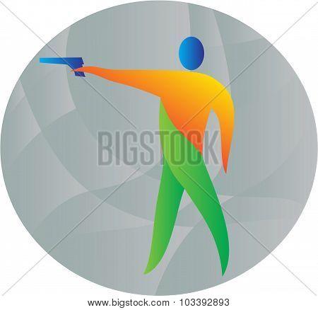 Air Pistol Shooting Circle Retro