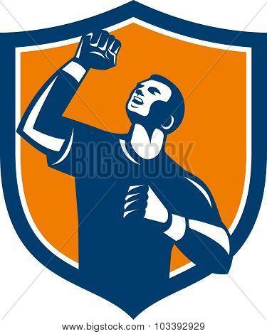 Athlete Fist Pump Crest Retro