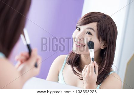 Smile Woman With Makeup Brushes