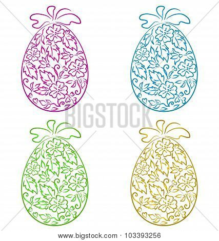 Set ornamental eggs in floral style for Easter